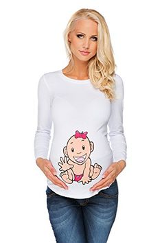 cddc52ac0ec6 Maternity T-shirt Long Sleeve Baby-Girl Girl S (Small) at Amazon Women s  Clothing store
