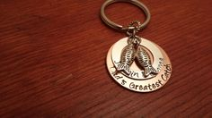 Hand stamped key chain with names and  by ByalittlebitofFaith, $18.00