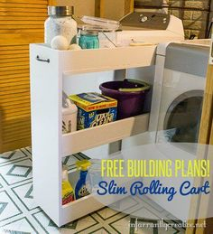 DIY Slim Rolling Laundry Cart {Free Plans} - Infarrantly Creative Plans for structure/instructions Laundry Cart, Laundry Room Shelves, Basement Laundry, Laundry Room Organization, Laundry Room Storage, Laundry Room Design, Organizing, Organization Ideas, Laundry Station