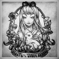 Alice in wonderland tattoo design. #tattoo #tattoos #ink #inked