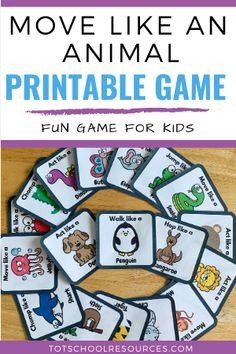 Move like an animal game {FREE Printable Cards} Motor Skills Activities, Gross Motor Skills, Therapy Activities, Preschool Activities, Movement Activities, Group Activities, Physical Activities, Preschool Speech Therapy, Preschool Printables