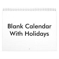Blank Calendar With Holidays | Zazzle