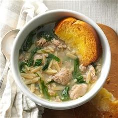 Barbara's Italian Wedding Soup Recipe -In a little Italian restaurant in Santa Cruz, my husband and I had an amazing soup with orzo. I tweaked it at home to make it healthier but kept the warm, comforting flavor. —Barbara Spitzer, Lodi, CA Quick Soup Recipes, Cooking Recipes, Chili Recipes, Onion Recipes, Free Recipes, Turkey And Dumplings, Italian Wedding Soup Recipe, Italian Soup, Italian Chicken