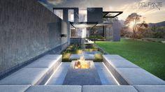 New Contemporary Constantia home_ Outdoor Fire Lounge_Del Fante Design Architects_ Cape Town   Contemporary design House #Architecture #Contemporary #Entrance #DarkGreyHouse #OffShutterConcrete #Design
