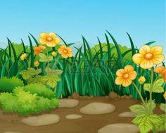 flores caricatura: Ilustración de un terreno hermosa naturaleza Vectores