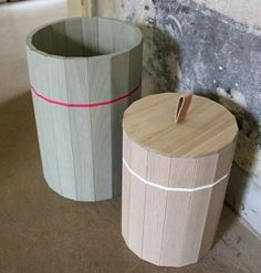 paneled wood containers...nice soft colors