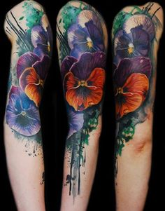 terrific flower watercolor tattoo on full arm