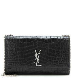 SAINT LAURENT Classic Large Kate Monogram Embossed Leather Shoulder Bag. #saintlaurent #bags #shoulder bags #leather #lining #