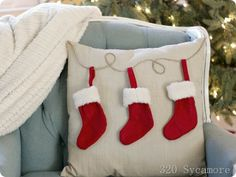 easy pottery barn knock off stocking pillow Such a cute idea-- from 320 Sycamore, one of my favorite blogs.
