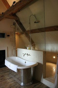 interesting use of space- and walk through shower with seemingly free standing bath House, House Bathroom, Walk Through Shower, Walk In Shower Designs, Attic Bathroom, Bathroom Interior, Makeup Room Decor, Loft Bathroom, Bathroom Decor