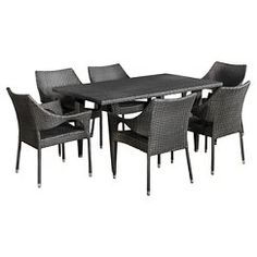 Christopher Knight Home Cliff 7 - Piece Outdoor Dining Set - GREY