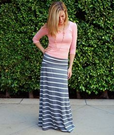 $22.99 Grey and White Stripe Maxi Skirt. Cute for Summer or Fall.