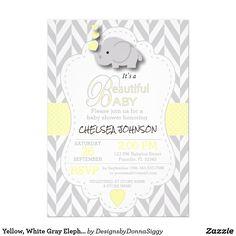#SOLD #Yellow, White Gray #Elephant #BabyShower #INVITATIONS