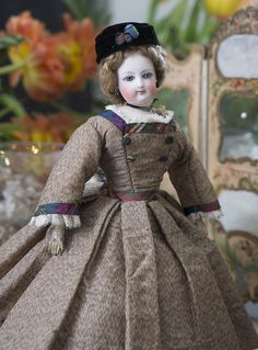 """12 1/2"""" Antique French Fashion Jumeau doll in original costume, size 0 Antique dolls at Respectfulbear.com"""