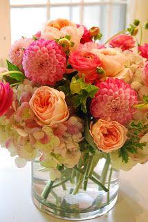 """Hydrangeas, ranunculus, dahlias, David Austen """"Juliet"""" roses & scented geranium leaves"""
