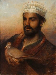 Charles Weed, 'The King of Zanzibar with Messenger' - oil on canvas