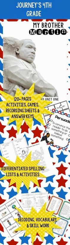 """120 pages of activities and games for """"My Brother Martin"""" grade Journey's curriculum. 4th Grade Ela, 4th Grade Reading, Spelling Lists, Yellow Brick Road, Recording Sheets, New Poster, Differentiation, Upper Elementary, Curriculum"""