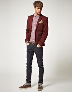 A denim look with maroon blazer and sneakers⋆ Men's Fashion Blog - TheUnstitchd.com