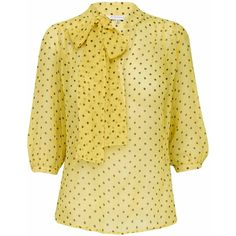 Silk Dot Pussy Bow Blouse ($145) ❤ liked on Polyvore featuring tops, blouses, shirts, yellow, polka dots, yellow shirt, shirts & blouses, silk blouses, bow neck blouse and yellow blouse