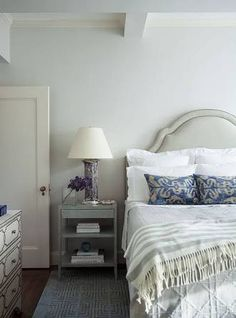 grey nightstand navy blue bedding - Google Search