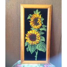 Vintage Sunflower Tapestry/ Handmade Tapestry/Framed... ($27) ❤ liked on Polyvore featuring home, home decor, wall art, flower wall art, sun wall art, flower stem, handmade home decor and yellow wall art