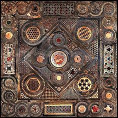 The great pavement in front of the High Altar of Westminster Abbey , the so called Cosmati floor.