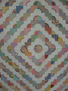 Drunkard's Path - 1930's reproduction feedsack quilt, 1930's fabrics, feedsack fabrics