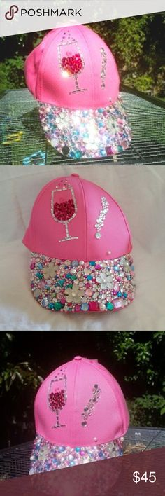 Swarovski Pink & Pearl Wine Applique Baseball Hat If you Love Wine,  you'll Love this hat!    This Magical Pink Wine Baseball/Trucker Hat was so much fun to make!     It's a One Of A Kind Beauty!     This Unique Creation is for the Wine Enthusiast.    Whether your off to the Vineyards, or a special fun Event,  or just out shopping,  this hat is for you!      * Pink Baseball Trucker Hat * Bubbly Wine/Champagne Glass Applique   * High End Swarovski Crystals * 3 Large Flower Gems * Rhinestones…