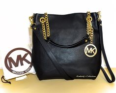 MICHAEL KORS Jet Set Chain Black Leather Shoulder Tote Bag Purse NWT