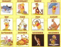 Pooh Calendar with x-stitch charts. Gallery.ru / Фото #1 - Meses - cnekane