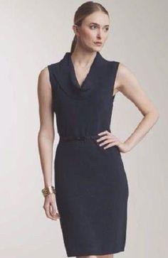 New Calvin Klein Dress Dark Navy Blue Cowl Neck Sweater Dress Size Medium NWT #CalvinKlein #SweaterDress #WeartoWork