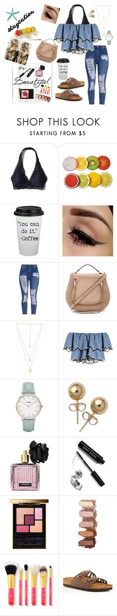 """""""Night on the town🌚✨"""" by morgan2017 ❤ liked on Polyvore featuring Hollister Co., Rebecca Minkoff, Natalie B, HUISHAN ZHANG, CLUSE, Bling Jewelry, Victoria's Secret, Bobbi Brown Cosmetics, Yves Saint Laurent and Birkenstock"""