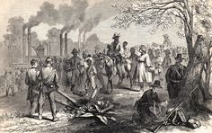 Arrival at Chickasaw Bayou of the Negro Slaves of Jefferson Davis, from his plantation on the Mississippi. Frank Leslie's Illustrated Newspaper, August 8, 1863 | In the Swan's Shadow