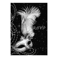 Elegant Black and White Masquerade Party RSVP Personalized Announcements