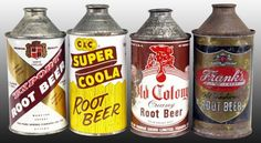 cone-top cans, old school cool Pop Cans, Root Beer, American Made, Soda, Childhood, Canning, Cool Stuff, Pickle, Club