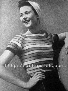 The   Vintage   Pattern   Files: 1940's Knitting - Striped Jumper
