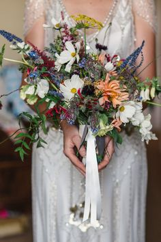 Miriam and John's Scottish 1920's wildflower inspired wedding with beaded gown, bee-friendly blooms and ceilidh