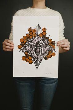 Bee Linocut Print