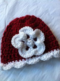 Newborn Baby Girl Red and White Crochet Hat by LakeviewCottageKids, $18.00
