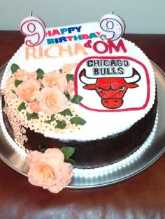 Eggless Vanilla cake - 2 layers with chocolate ganache, buttercream, strawberries with handmade fondant decorations(for the little girl) and painted bulls logo (for her 9-yr brother, a hardcore old Bulls fan).  More photos at www.facebook.com/simply.archita