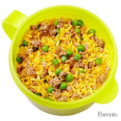 Brown Spanish rice and ground beef in a thermos Tortilla chips Green grapes