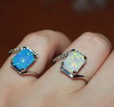 fire opal Cz ring gems silver jewelry Sz 6.5 7 cocktail engagement wedding band #Cocktail