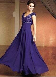 A-Line/Princess Cowl Neck Floor-Length Chiffon Sequined Mother of the Bride