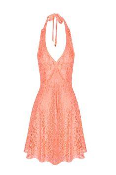 Vestido de crochet coral al cuello
