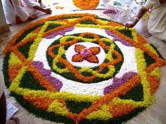 50 Best Pookalam – Indian Floral Design For Onam Festival Best Rangoli Design, Indian Rangoli Designs, Rangoli Designs Flower, Rangoli Patterns, Free Hand Rangoli Design, Rangoli Designs With Dots, Flower Rangoli, Beautiful Rangoli Designs, Onam Pookalam Design
