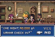 Modest fee! @Pixel_Dailies #pixel_dailies #inn #FinalFantasyVII #pixelart #games #gaming #game #FinalFantasy #Cloud #Tifa #Barret #PSX https://t.co/8sKkAA659C