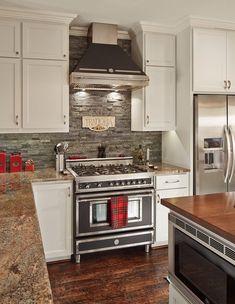 kitchen remodel ideas white kitchen cabinets stone bacsplash granite countertops - Stone Backsplash Ideas For Kitchen