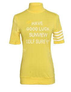 "SVG 2016 Women's Mandarin Collar Stretch Short Sleeve Golf Shirt Yellow Size XL. NOTICE: Before order, please check the sizes in detailed product description below. Model is 178cm/5'84"" in Size M. Lightweight and soft breathable fabric. Stylish mandarin collar. Classic and sporty striped short sleeve. Delivery: please notice for standard shipment it usually takes about 7-15 days, and for expedited way it usually takes about 2-3 workdays."