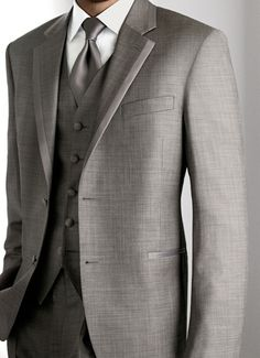 Grey tux for groomsmen, but with navy  blue vest and tie!