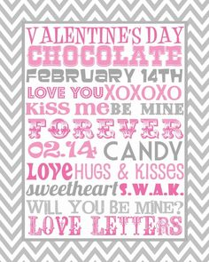 Free valentines day printable subway art in grey and pink